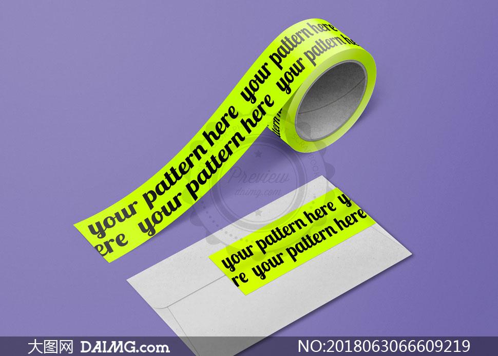 胶带文字图案与信封粘贴效果源文件
