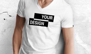 V领款式男士T恤图案贴图分层源文件