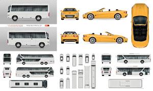 跑车与大巴等交通车辆主题矢量素材