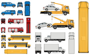 校车厢货与消防车清障车等矢量素材