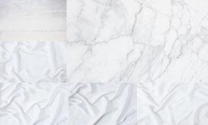 石材木纹与丝滑的布料背景高清图片