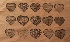 14款创意的心形图案PS笔刷
