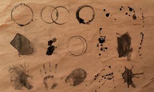 颓废的咖啡印记和喷溅背景PS笔刷