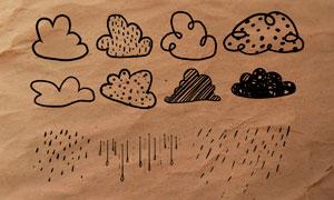 涂鸦主题天气图标PS笔刷