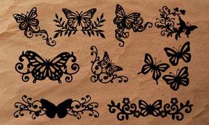 蝴蝶花纹装饰效果PS笔刷