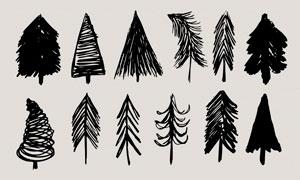 手绘涂鸦松树和树木PS笔刷