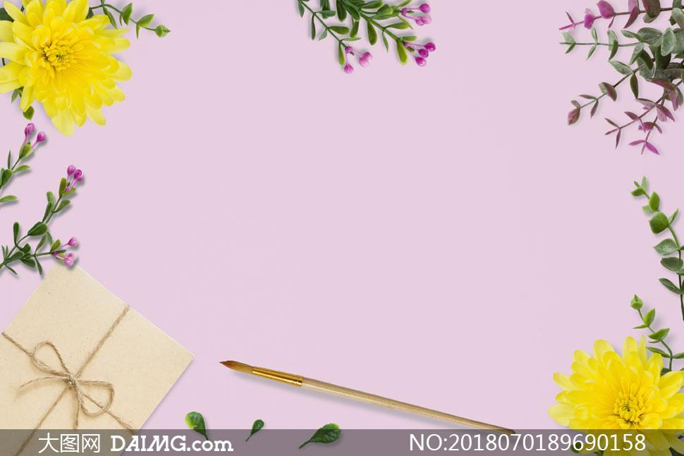 菊花与花草画笔等边框设计分层素材