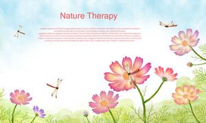 春天引来蜻蜓造访的花朵等分层素材
