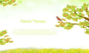 花草叢與樹枝上的麻雀PSD分層素材