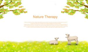 草地上的兩只小羊插畫創意分層素材