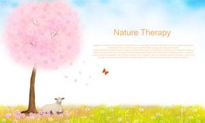 粉色大樹下的小羊插畫創意分層素材