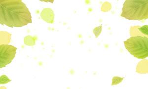綠葉與在草地上覓食的小雞分層素材