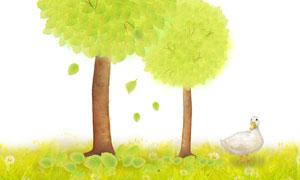 大樹與在草地上的白鴨PSD分層素材
