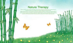 草地竹子與飛舞的蝴蝶PSD分層素材
