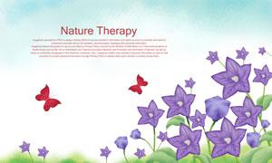 蝴蝶與紫色的花朵創意PSD分層素材