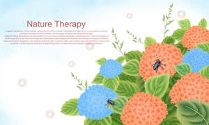 鲜花绿叶上的甲虫插画创意分层素材
