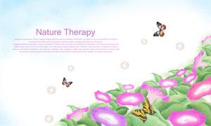 飞舞在鲜花丛中的蝴蝶PSD分层素材