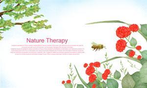 绿叶树枝与红花蜜蜂等PSD分层素材