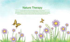 蝴蝶与绽放的花卉植物PSD分层素材