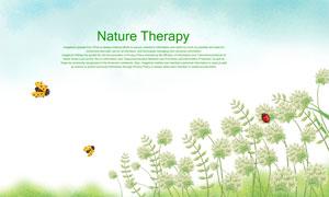 瓢虫与春天的花卉植物插画分层素材