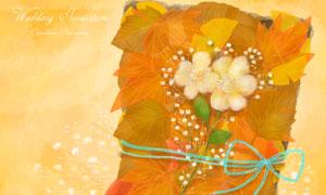 綁一起的葉子與花朵等創意分層素材