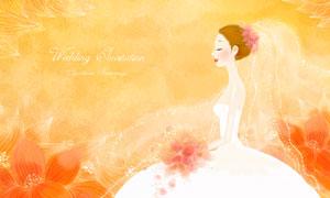 手拿着鲜花的新娘插画创意分层素材