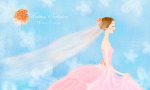 粉色婚紗新娘人物插畫創意分層素材