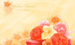 水彩效果花束插畫創意設計分層素材