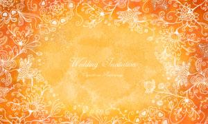 水彩背景白描鏤空花紋圖案分層素材