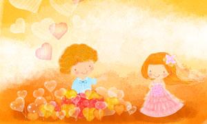 心形气球与儿童人物等创意分层素材