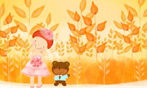 小熊小女孩與植物創意設計分層素材