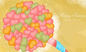 多顆心形組合花束創意設計分層素材