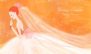 婚纱装扮幸福新娘人物插画分层素材