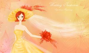 星光夢幻新娘人物插畫創意分層素材