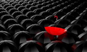 众多黑伞中的红色雨伞创意高清图片