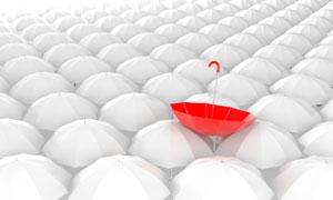 被吹翻的红色雨伞创意设计高清图片