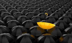 在黑伞堆中的黄色雨伞创意高清图片