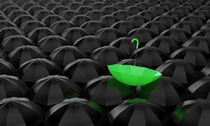 整齐排列的黑色伞创意设计高清图片