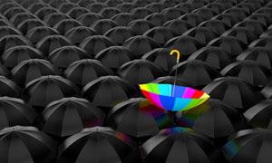 惹眼的彩虹色雨伞创意设计高清图片