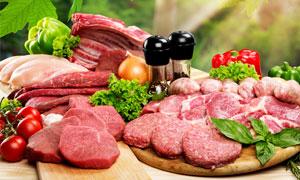 多种肉食与调味品特写摄影高清图片