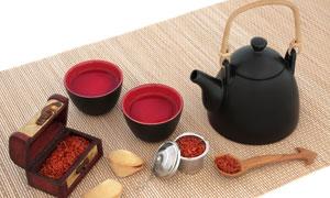 花茶与茶壶茶杯等特写摄影高清图片