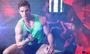 多边形元素装饰的健身男子高清图片