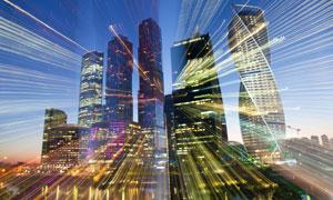 耀眼光效城市建筑夜景创意高清图片