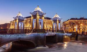 圣彼得堡罗蒙诺索夫桥摄影高清图片