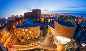 俄罗斯的沃罗涅日夜景鸟瞰高清图片