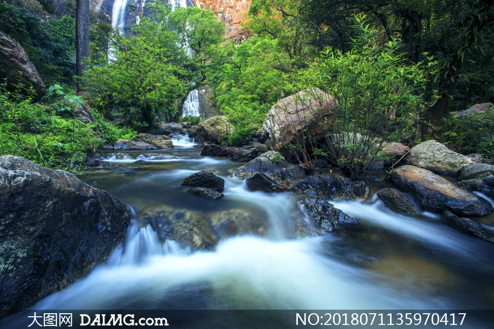 大图素材摄影自然风景风光景观树木树丛岩石山石石头瀑布溪水山间山林