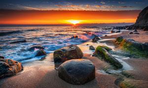 黄昏时分浩瀚大海美景摄影高清图片