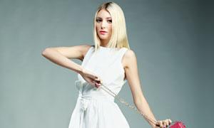 金发白裙美女人物写真摄影高清图片