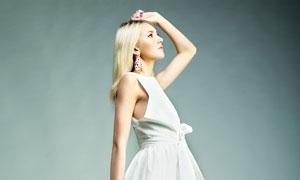 白色无袖短裙美女人物摄影高清图片