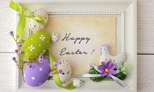 鲜花缎带与彩蛋等特写摄影高清图片